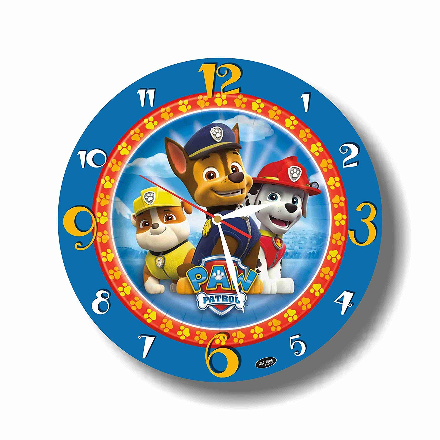 Amazon Com Art Time Production Fba Paw Patrol 11 8 Handmade Unique Wall Clock Get Unique Decor For Home Or Office Best Gift Ideas For Kids Friends Parents Kitchen Dining