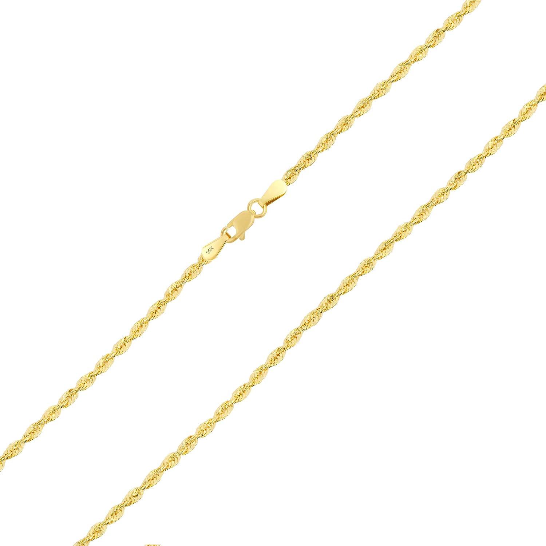 Nuragold 14k Yellow Gold 2.5mm Rope Chain Diamond Cut Italian Pendant Necklace, Womens Mens Lobster Lock 16