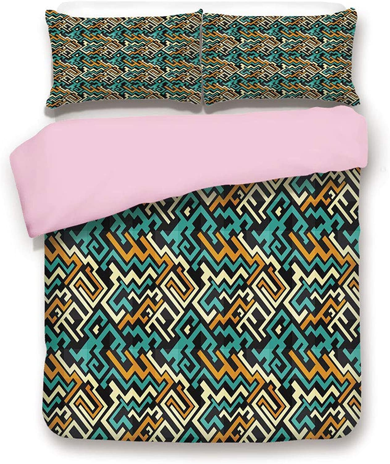 Pink Duvet Cover Set,Queen Size,Abstract Modern Future Inspiration Line Art Surreal Design Decorative,Decorative 3 Piece Bedding Set with 2 Pillow Sham,Best Gift For Girls Women,Turquoise Marigold Pal