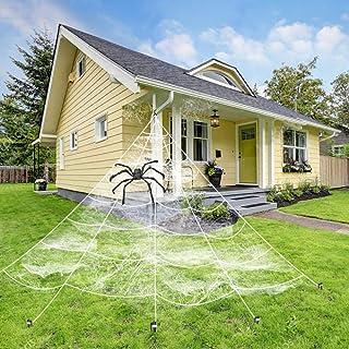 QBSM زينة هالوين خارجية مثلث عملاق ميجا وهمية شبكة تمتد شبكة العنكبوتية خارج الفناء ديكور مع 1 كبير 29.8 بوصة عنكبوت