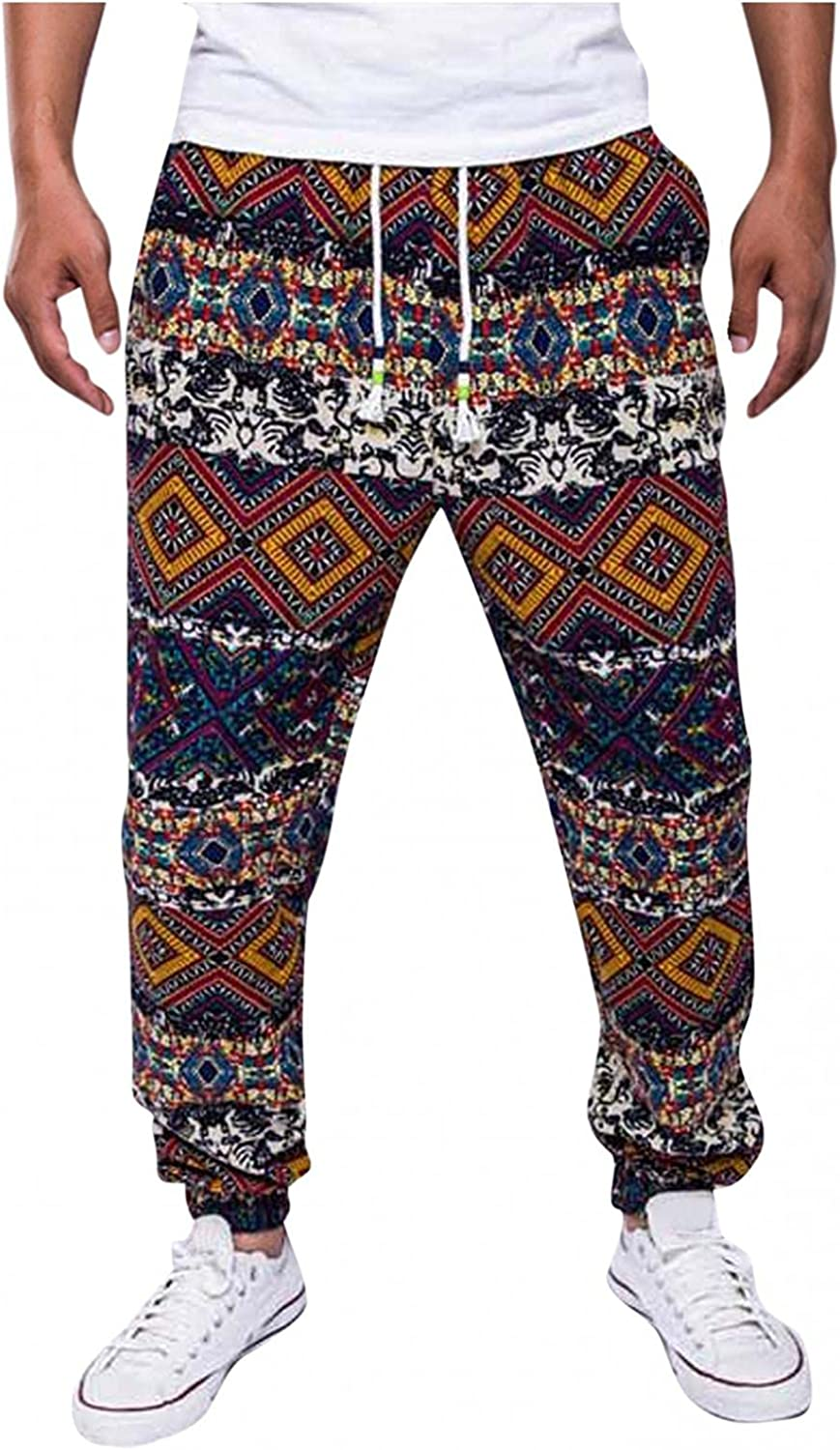 Mens Linen Pant Casual Ethnic Style String Printed Jogger Sweatpants Active Athletic Soft for Gym Daily Beach
