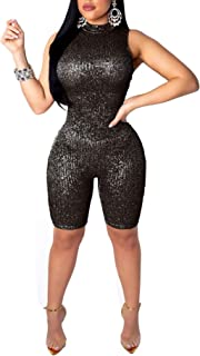Sexy Sequins Jumpsuits for Women Party Club Night-High Neck Sleeveless Romper Shorts Jumpsuits Clubwear