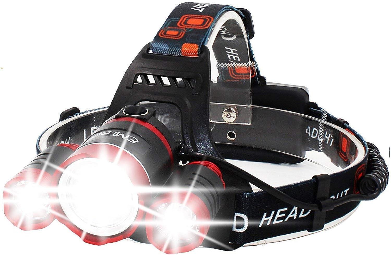 MUTANG 3 LED-Superhelle Scheinwerfer-Taschenlampe für Camping, USB-Akkus, 4 Modi Superhell Extra Starke Langstrecken-LED-Stirnlampe