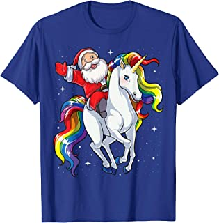Christmas Santa Riding Unicorn Xmas Gifts Girls Kids Women T-Shirt