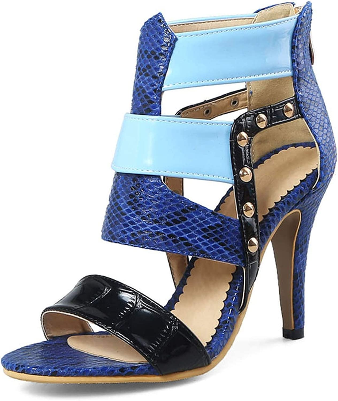 Small Basketball Sex high Heels Women Sandals Fashion Mixed color Rivet Summer Lady wear Zipper shoes