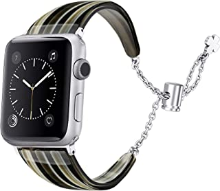 Secbolt Resin Band Compatible with Apple Watch Band 38mm 40mm iWatch Series 5/4/3/2/1, Tortoiseshell-Tone Adjustable Stainless Steel Chains Wristband Dressy Bracelet Accessories Women