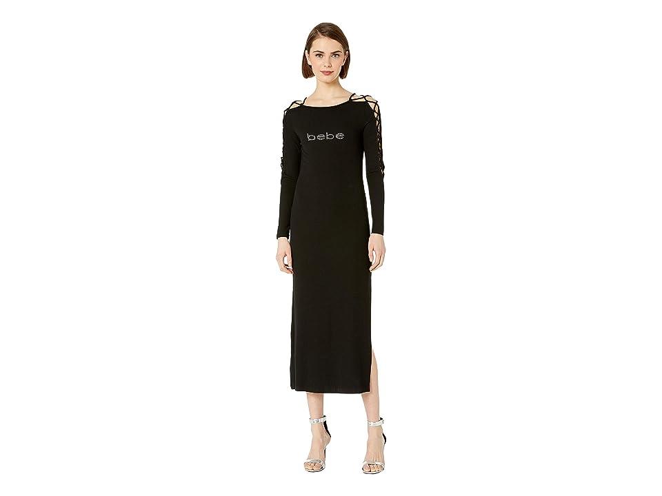 Bebe Logo Lace-Up Sleeve Midi Dress (Jet Black) Women