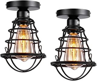 Vintage Semi Flush Mount Ceiling Light E26 E27 Base Edison Rustic Antique Metal Caged Industrial Ceiling Light Fixture for Hallway Porch Bathroom Stairway Bedroom Kitchen 2 Pack