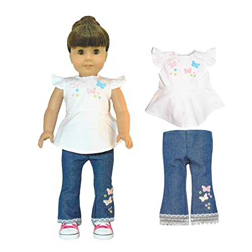 Pink Shirt With Embroidered Detail and Black Pants Outfit Fits Dolls Clothes
