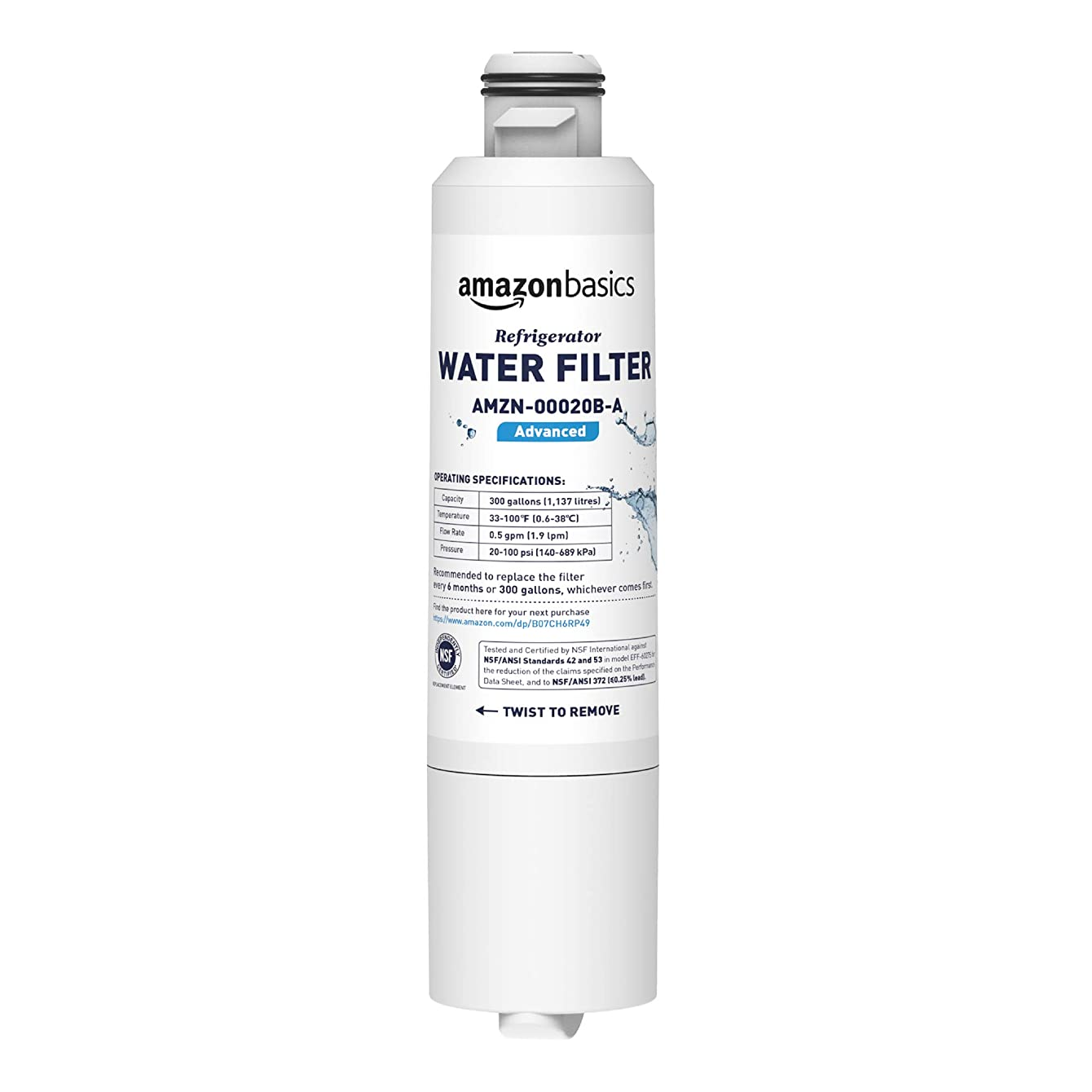 AmazonBasics Replacement Samsung DA29-00020B Refrigerator Water Filter - Advanced Filtration