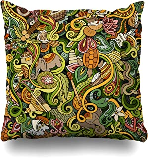 Ahawoso Decorative Throw Pillow Cover Square 16x16 Cute Doodles Hand Drawn Indian Traditional Yoga Animals Wildlife Parks Outdoor Journey Plantation Cushion Case Home Decor Zippered Pillowcase
