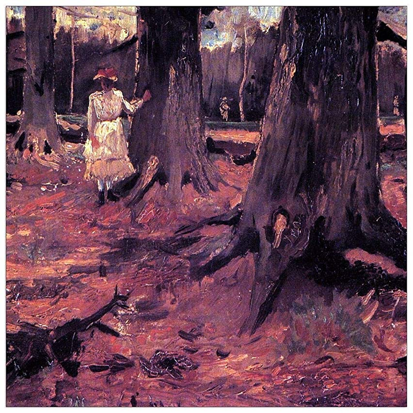 ArtPlaza TW90688 Van Gogh Vincent - Girl in White in The Woods Decorative Panel 15.5x15.5 Inch Multicolored