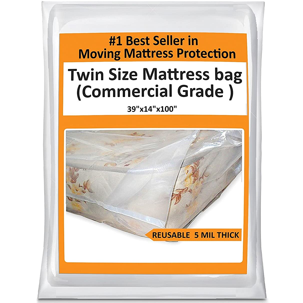 Twin Mattress Bag Cover for Moving or Storage - 5 Mil Heavy Duty Thick Plastic Wrap Protector Reusable Bag