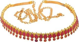 Sanjog Stunning Golden & Pearl Kundan Studded Kamarband for Women Girls (Red)