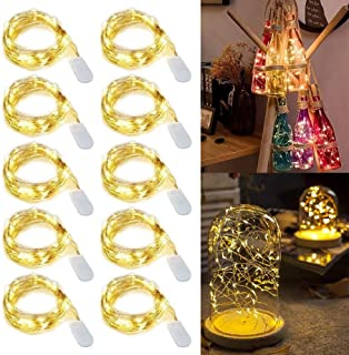 Fairy Lights Battery Operated, 10 Pack String Lights, 20LED 2M Waterproof Copper Wire Light for Christmas Wedding Decorati...
