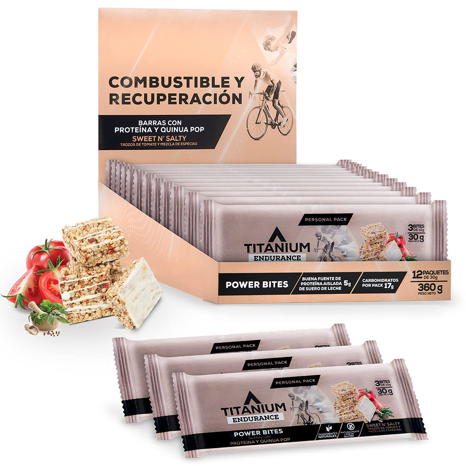 TITANIUM Granola Energy Bars With Protein Made Of Quinoa, Fruit And Chocolate - High Protein Snacks - Meal Replacement Bar - Cycling, Hiking, Camping, Backpacking Food - Sports Nutrition - Gluten Free