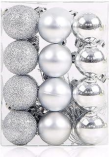Fizzytech 24pcs Shatterproof Christmas Ball Ornaments Glitter Christmas Tree Decoration Balls for Holiday Wedding Party De...