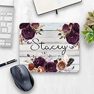 Personalized purple rustic floral mouse pad, floral rose home or office decor desk accessory gift for co-worker appreciation