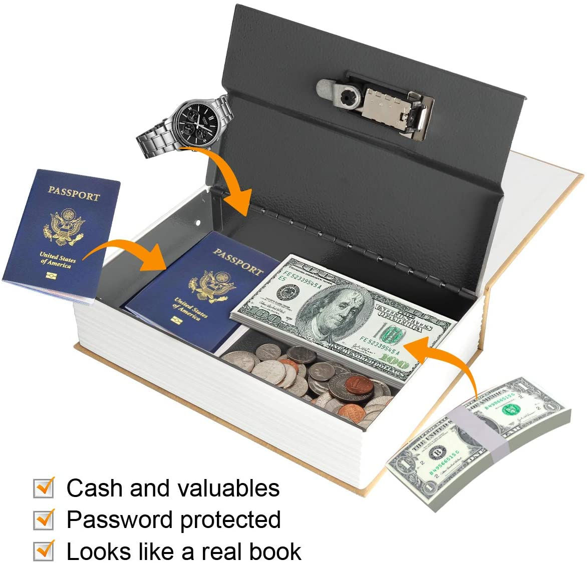 Secrect Hidden Safe Lock Box Large Jssmst Diversion Book Safe with Combination Lock SMBS019 Holy Bible
