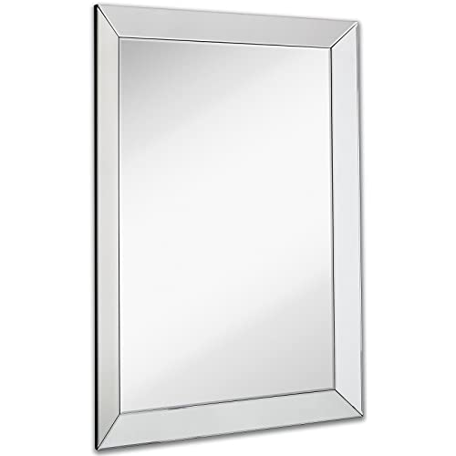 c1a08c5bae28 Large Framed Wall Mirror with 3 Inch Angled Beveled Mirror Frame