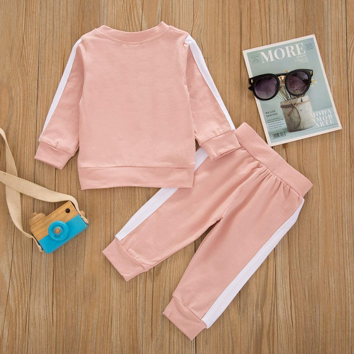 Unisex Toddler Baby Boy Girl Spring Fall Winter Clothes Long Sleeve T-Shirt Tops+Long Pants Two Piece Solid Outfit