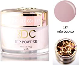 DND DC Neutrals DIP POWDER for Nails 1.6oz, 45g, Daisy Dipping (with bonus side Glitter) Made in USA (Pina Colada (137))