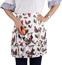 Fodiyaer Egg Apron with 12 Pockets for Gathering Eggs,Perfect Holding Multiple Egg,Cute Kitchen/Farm Eggs Apron with Rooster Print