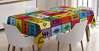 Ambesonne Primitive Tablecloth, Elements Collage in Colorful Squares Aboriginal Symbolic, Dining Room Kitchen Rectangular Table Cover, 52