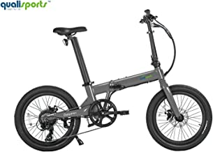 "Qualisports Dolphin Folding Electric Bicycle 20"" Wide Tire E-Bike with Strong 350W Hub Motor, 36V/14Ah Battery, Range 50+Miles, 20MPH Max Speed Hybrid Foldable Ebike for Adults from USA Warehouse"