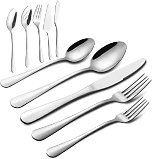 65 Pieces Silverware Set with Serving Set, Stainless Steel Modern Flatware Eating Utensils Set, Service for 12, Include Kn...