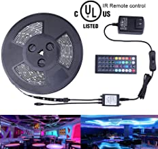 Miheal Waterproof 5050 SMD 32.8ft (10m) RGB LED Strip Light Kit, Color Changing Black PCB Rope Lights+44-Key IR Controller+ Power Supply for Home,Kitchen,Trucks,Sitting Room and Bedroom Decoration …