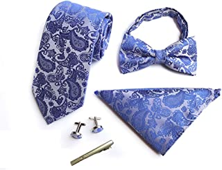 Mens Paisley Silk Wide Necktie Ties Bowtie Pocket Square Cufflinks Tie Clips Set