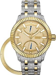 JBW Luxury Men's Crowne 50 Diamonds Interchangable Fluted Bezel Watch