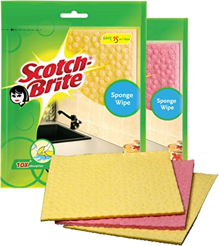 Scotch-Brite Sponge Wipe, Pack of 3 (Color May Vary) (IE840101034)