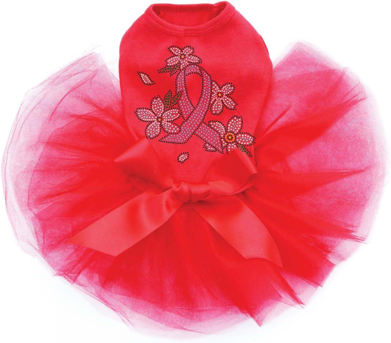 Pink Ribbon with Super intense SALE Flowers - Bling XS Tutu Max 78% OFF Dog Rhinestone R Dress