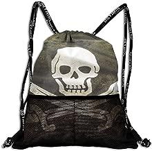 Girls & Boys Drawstring Bag Theft Proof Lightweight Beam Backpack, Gym Gymsack - Pirate Skull Flag Waterproof Backpack Soccer Basketball Bag