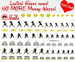 Softball Mom clear vinyl Peel and Stick nail art decals (NOT Waterslide). Set of 78 by One Stop Nails.
