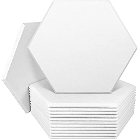 DEKIRU 12 Pack Acoustic Panels Hexagon Sound Proof Padding, 14 X 13 X 0.4 Inches Sound dampening Panel Used in Home & Offices (White)