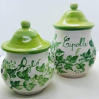 Set Barattolo Porta aglio + Barattolo Porta Cipolle Linea Edere Ceramica Realizzato e dipinto a mano Le Ceramiche del Cast...