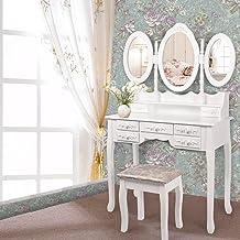 Levede Dressing Table Jewellery Organiser Mirror Makeup Drawer Bedroom Furniture 3 Mirror+7 Drawer in White