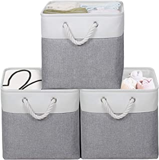 """KEEGH Large Foldable Fabric Storage Bins 3-Pack Collapsible 13"""" Cube Storage Organizer Bins Basket with Sturdy Cotton Carr..."""