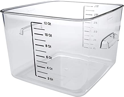 Rubbermaid Commercial Products Plastic Space Saving Square Food Storage Container for Kitchen/Sous Vide/Food Prep, 12 Quart, Clear (FG631200CLR)
