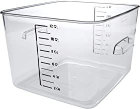 Rubbermaid Commercial Products Plastic Space Saving Square Food Storage Container For Kitchen/Sous Vide/Food Prep, 12 Quar...