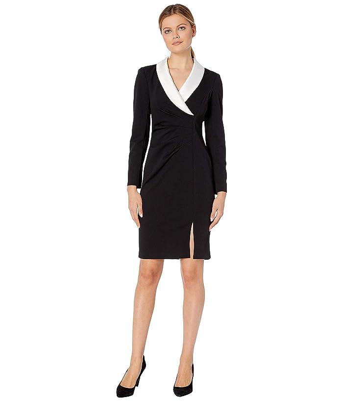 Adrianna Papell  Knit Crepe and Satin Sheath (Black/Ivory) Womens Dress