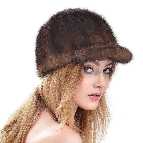 6b847a4d247 Queenfur Real Mink Fur Hat Natural Mink Fur Cap Winter Women Fur Beanie (A-