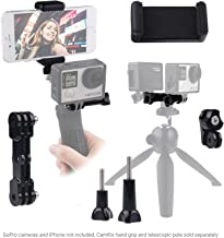CamKix Dual Mount Compatible with GoPro Hero or DJI Osmo Action with Tripod Adapter and Universal Phone Holder - Record Videos with 2 Different Camera Angles, Steady Shot Photography, Selfies