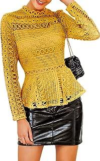 SUNJIN ARCO Women's Elegant Lace Tops Hollow Out Long Sleeve Peplum Hem Shirt Sheer Blouse