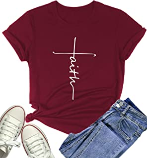 Women's Faith Printed Cute Funny T Shirt Short Sleeve Graphic Tops Tee