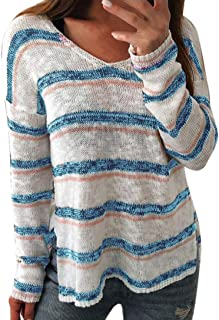 Realdo Womens Knitted T-Shirt, Autumn Sexy V-Neck Stripe Long Sleeve Pullover Tops
