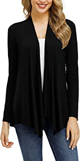 Women's Basic Long Sleeve Open Front Draped Cardigan Flowy Casual Jersey Cardigans